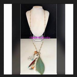 Plunder BERNIE Necklace Gold/Turquoise Color Leaf